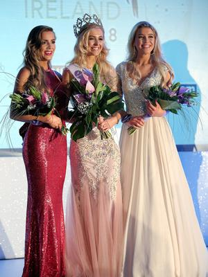 Pacemaker Press 29/0518  Katharine Walker, the new Miss Northern Ireland with runners-up Lucy Spratt and Klaudia Gorska, , after winning this year's event at the Europa Hotel on Monday evening.  Pic: Pacemaker