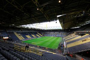 A general view of the stadium before the UEFA Europa League Quarter Final, First Leg match at Signal Iduna Park, Dortmund. PRESS ASSOCIATION Photo. Picture date: Thursday April 7, 2016. See PA story SOCCER Dortmund. Photo credit should read: Adam Davy/PA Wire