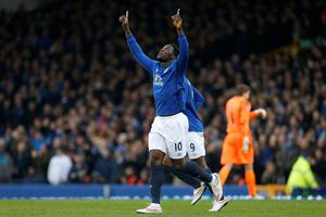 Everton's Romelu Lukaku celebrates scoring his sides second goal of the game during the Barclays Premier League match at Goodison Park, Liverpool. Lynne Cameron/PA Wire.