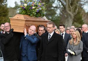 Wife Kerry during the Funeral of Dr Ian Adamson at Clonlig Presbyterian Church on Monday. Pic Colm Lenaghan/ Pacemaker