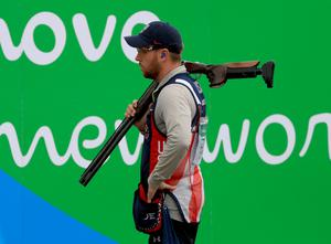 RIO DE JANEIRO, BRAZIL - AUGUST 12:  Vincent Hancock of the United States waits to compete in the Skeet qualifying match on Day 7 of the Rio 2016 Olympic Games at Olympic Shooting Centre on August 12, 2016 in Rio de Janeiro, Brazil.  (Photo by Sam Greenwood/Getty Images)
