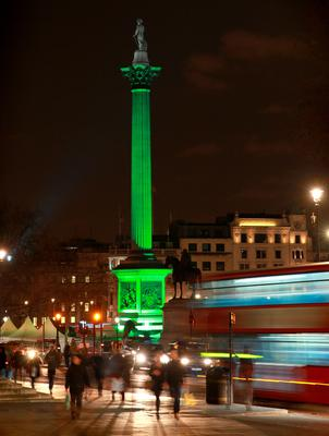 Nelson's Column in Trafalgar Square, London is lit green by Tourism Ireland in celebration ahead of St Patrick's Day, on Tuesday 17th.
