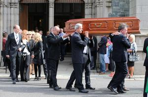 The funeral of BBC broadcaster Gerry Anderson at St Eugene's Cathedral in Londonderry. PRESS ASSOCIATION Photo. Picture date: Sunday August 24, 2014. See PA story FUNERAL Anderson. Photo credit should read: Niall Carson/PA Wire