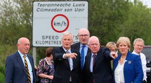 Michel Barnier is shown the cross-border road on the N53 road between Co Louth and the A37 road in Co Armagh