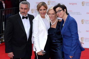 Left to right. Paul Hollywood, Mel Giedroyc, Mary Berry and Sue Perkins arriving for the 2013 Arqiva British Academy Television Awards at the Royal Festival Hall, London. PRESS ASSOCIATION Photo. Picture date: Sunday May 12, 2013. See PA story SHOWBIZ Bafta. Photo credit should read: Dominic Lipinski/PA Wire