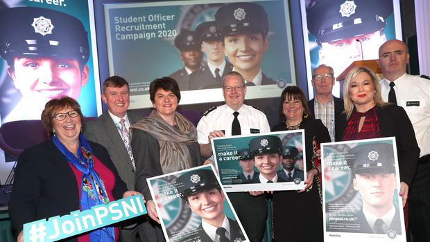 PSNI Chief Constable Simon Byrne with Anne Connolly, chair of the NI Policing Board, First Minister Arlene Foster and deputy First Minister Michelle O'Neill at the launch of a new student officer recruitment drive by the PSNI at Garnerville Training College, Belfast today. Also included are MLAs and Policing Board members Dolores Kelly, Mervyn Storey and Gerry Kelly and Deputy Chief Constable elect, Mark Hamilton. Picture by Stephen Davison
