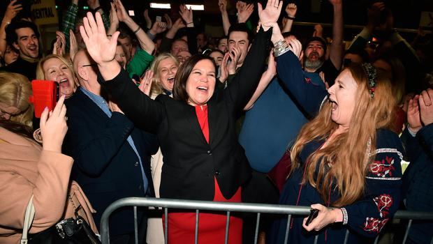 Sinn Fein leader Mary Lou McDonald celebrates with her supporters after being elected