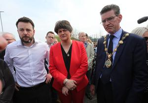 The community vigil held on Fanad Drive, Creggan, following the murder of 29 years-old Lyra McKee. SDLP party leader Colum Eastwood, DUP party leader Arlene Foster and then Mayor of Derry and Strabane, Councillor John Boyle. Photo by Lorcan Doherty  / Press Eye.