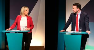 Sinn Fein's Michelle O'Neill (left) and  SDLP Leader Colum Eastwood at UTV Studios at Havlock House in Belfast for the Westminster Election Debate. PRESS ASSOCIATION Photo. Picture date: Monday June 5, 2017. Photo credit should read: Niall Carson/PA Wire
