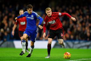 LONDON, ENGLAND - JANUARY 13: James McClean of West Bromwich Albion and Oscar of Chelsea compete for the ball during the Barclays Premier League match between Chelsea and West Bromwich Albion at Stamford Bridge on January 13, 2016 in London, England.  (Photo by Shaun Botterill/Getty Images)
