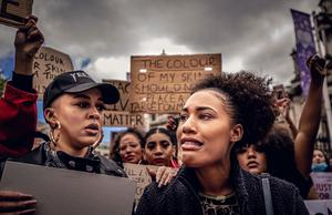 Shade Fairley and Angel Arutura as a protest over the death of George Floyd is held at City Hall in Belfast, Northern Ireland on June 3rd 2020 (Photo by Kevin Scott for Belfast Telegraph)