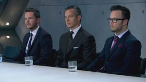 (left to right) Neil Clough, Myles Mordaunt and Jordan Poulton in the Boardroom before Myles became the latest candidate to be fired from the BBC programme, The Apprentice