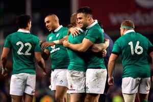 Ireland's Keith Earls (left) and Conor Murray celebrate after the Autumn International match at the Aviva Stadium, Dublin. PRESS ASSOCIATION Photo. Picture date: Saturday November 26, 2016. See PA story RUGBYU Ireland. Photo credit should read: Niall Carson/PA Wire. RESTRICTIONS: Editorial use only, No commercial use without prior permission