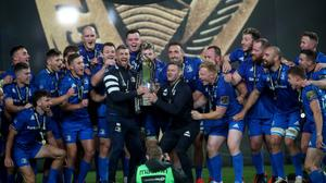 Leinster celebrate their third successive Guinness PRO14 title.
