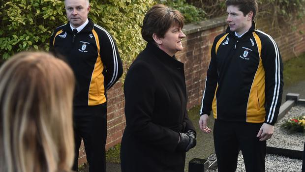 PACEMAKER BELFAST 27/01/2020 First Minister Arlene Foster , Deputy Leader Michelle O'Neill  during The Funeral of Seamus Mallon at St James Church in Mullaghbrack, Co Armagh on Monday. The former deputy first minister of Northern Ireland, who was one of the key architects of the 1998 Good Friday Agreement, died on Friday aged 83. Past and present government ministers are among the mourners. Photo Colm Lenaghan/Pacemaker Press