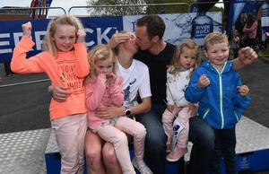 Pacemaker Press 1/5/2017  Local Women Laura Graham with her Family  including husband Thomas and children , Darcy, Payten, Jaydon and Layla after winning   the first lady runner   during the Belfast City Marathon on Bank Holiday Monday, with over 15,000 people taking part threw the streets of Belfast, with the Finish line at Ormeau Park. Pic Colm Lenaghan/Pacemaker