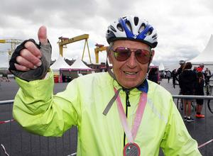 John McKeag (93) who worked as a welder at Harland and Wolff at the Gran Fondo. Pic: Freddie Parkinson/Press Eye.