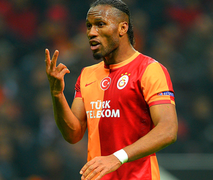 Didier Drogba of Galatasaray gestures during the UEFA Champions League Round of 16 first leg match between Galatasaray AS and Chelsea at Ali Sami Yen Arena on February 26, 2014 in Istanbul, Turkey.  (Photo by Michael Regan/Getty Images)
