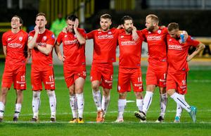 Dejected Coleraine players as last night's penalty shootout goes horribly wrong against Motherwell at the Showgrounds