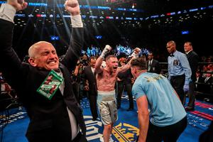 Carl Frampton celebrates his win after defeating Leo Santa Cruz in the 12 round WBA Super  featherweight championship  bout at Barclays Center on July 30, 2016 in the Brooklyn borough in New York City. (Photo by Anthony Geathers/Getty Images)