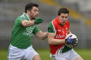 """4th May 2013 """"Together For Sam"""" Fundraising G.A.A. Match between Fermanagh and Mayo at Brewster Park, Enniskillen Mayos Lee Keegan and Fermanaghs Shay Cullen in action at Saturday Nights Game."""