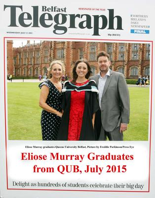 Mandatory Credit - Picture by Freddie Parkinson/Press Eye ? Wednesday 8th July 2015 Graduations Queen University Belfast. Eliose Murray from Carryduff graduated at Queens University Belfast in Drama and English.