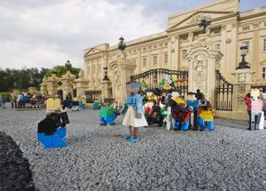 Legoland Windsor Resort's model of Buckingham Palace with photographers and camera crews waiting outside for news of the royal baby. Legoland Windsor Resort/PA Wire
