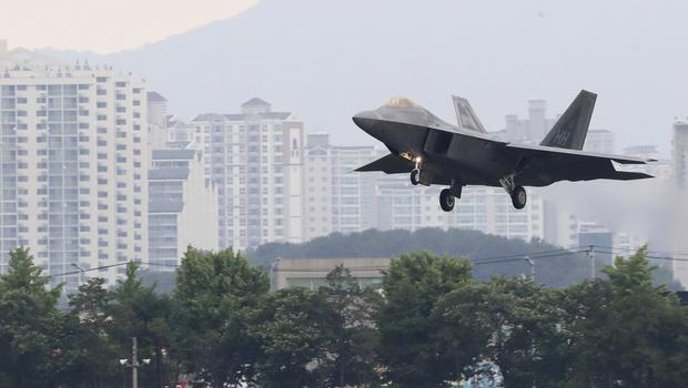 A U.S. F-22 Raptor stealth fighter jet lands as South Korea and the United States conduct the Max Thunder joint military exercise at an air base in Gwangju, South Korea (AP)