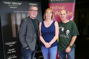 Press Eye Belfast - Northern Ireland - 31st July 2016    Niall Ó Donnghaile, Irene Sherry and Dominic Adams are pictured at the film premiere of Bobby Sands: 66 Days at the Omniplex Cinema at the Kennedy Centre in west Belfast.  The premiere was hosted with Féile An Phobail and West Belfast Film Festival.  Photo by Kelvin Boyes  / Press Eye