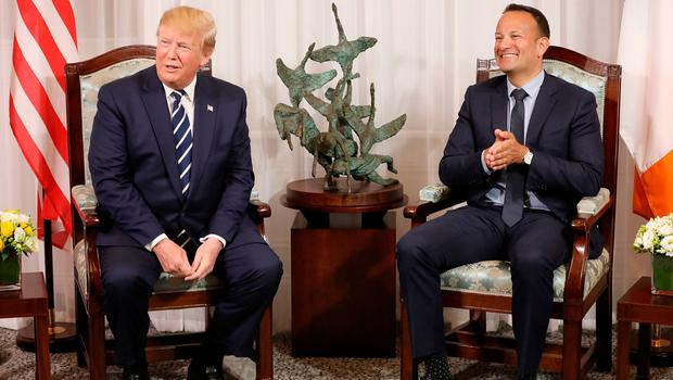 SHANNON, IRELAND - JUNE 05: US President Donald Trump during a bilateral meeting with Taoiseach Leo Varadkar at Shannon airport on June 5, 2019 in Shannon, Ireland. President Trump will use his Trump International golf resort in nearby Doonbeg as a base for his three day stay in Ireland. The resort employs over 300 local people in the area and the village will roll out a warm welcome for the 45th President of the United States. (Photo by Pool/Getty Images)