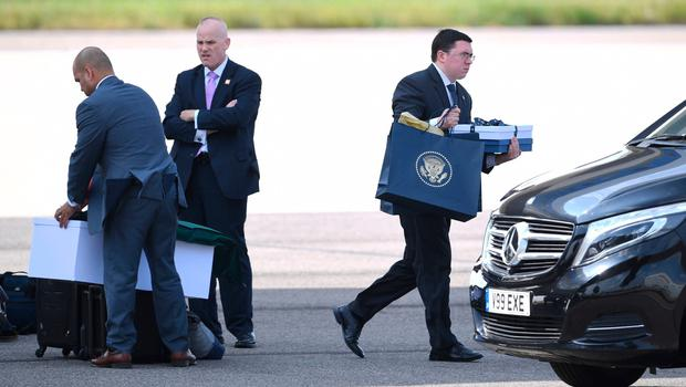 Items are unloaded from Air Force One following the arrival of US President Donald Trump and his wife Melania at Stansted Airport in Essex, aboard Air Force One for the start of his three day state visit to the UK. PRESS ASSOCIATION Photo. Picture date: Monday June 3, 2019. See PA story ROYAL Trump. Photo credit should read: Joe Giddens/PA Wire