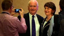 Arlene Foster (R), Northern Ireland Finance Minister poses for a picture at a hotel in Belfast before being elected leader of the Democratic Unionist Party (DUP) on December 17, 2015. A special electoral college will gather at the hotel, and Foster is the only candidate for the leadership. Foster will replace Peter Robinson following his announcement that he will step down as Northern Ireland's First Minister and as leader of the DUP.  AFP PHOTO / PAUL FAITHPAUL FAITH/AFP/Getty Images