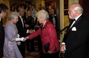 The Queen met Katie Boyle whose husband Peter was the first producer of The Mousetrap at the 50th anniversary of the world's longest-running play, in 2002 (PA)