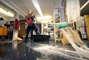 Anita Ross at the Boudoir designer boutique in Dungannon which was flooded during Storm Desmond. Pic: Matt Mackey/Press Eye.