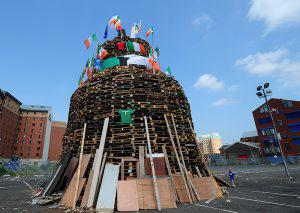 Pacemaker press 11/07/2013: The Bonfire on Sandy Row in Belfast the 12th of July celebrations began at midnight across the province. Picture By: Arthur Allison.