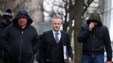 Jamie Bryson arrives Belfast Magistrates Court where he was appearing on charges of perverting the course of justice. Picture by Jonathan Porter/PressEye