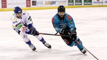 Belfast Giants' Lewis Hook with Coventry Blaze during Sunday afternoon's Elite Ice Hockey League game at the SSE Arena, Belfast. Photo by William Cherry/Presseye