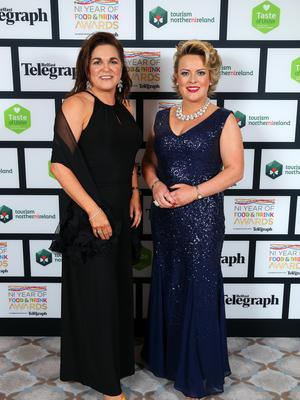 Press Eye - Belfast - Northern Ireland - 2nd February 2017 -    NI Year of Food & Drink Awards at the Culloden Hotel.  Julienne Elliott and Joanne McLaughlin pictured at the NI Year of Food & Drink Awards at the Culloden Hotel.  Photo by Kelvin Boyes / Press Eye.
