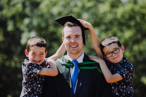 Pictured at the Ulster University Summer Graduations 2018 at Coleraine is Calvin Brannigan with little brothers Ryan & Adam graduating in IComputing with Games development. Picture John Murphy Aurora PA.
