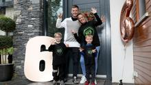 Happy to be home: Jonathan Rea celebrates his sixth World Superbike crown with wife Tatia and sons Jake and Tyler
