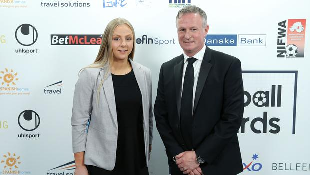 NI Football Awards at the Crowne Plaza Hotel. Lauren Perry and Michael O'Neill pictured at the Awards. Photo by Kelvin Boyes / Press Eye