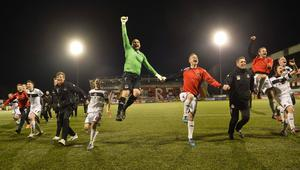 PACEMAKER BELFAST   19/04/2016 Cliftonville v Crusaders  Danske Bank Premiership Crusaders celebrate their win during this evenings game at Solitude in Belfast. Photo Mark Marlow/Pacemaker Press