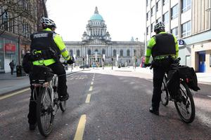 General view of PSNI officers in Belfast city centre during lockdown. Photo by Kelvin Boyes / Press Eye.