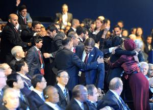Qatar delegates celebrate being named as 2022 World Cup hosts (Anthony Devlin/PA)