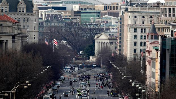 WASHINGTON, DC - JANUARY 19:  A view down Pennsylvania Ave is seen from the West Front of the U.S. Capitol on January 19, 2017 in Washington, DC. Donald J. Trump will be sworn in tomorrow as the 45th president of the United States.  (Photo by Joe Raedle/Getty Images)