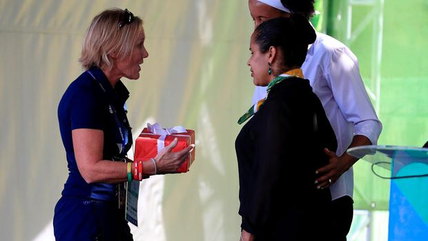 Chef de Mission for the GB Paralympic Team Penny Briscoe hands over a gift during the Welcome Ceremony at the Athletes Village ahead of the 2016 Rio Paralympic Games, Brazil. PRESS ASSOCIATION Photo. Picture date: Sunday September 4, 2016. Photo credit should read: Adam Davy/PA Wire. EDITORIAL USE ONLY