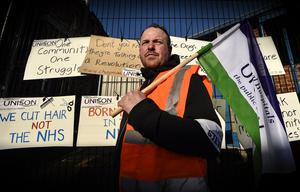 ?Russell Pritchard  13th March 2015 Public services in Northern Irelands are being disrupted by a strike by some public sector trade unions.  Radiographer at the R.V.H, Connor McCarthy ?Russell Pritchard / Presseye