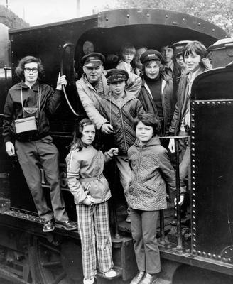 Some of the youngsters from Whitehead and carrickfergus who took part in the Railway Preservation Society of Irelands steam tour on the Belfast-Larne line. Included are the Northern Ireland railways crew, rear, left to right, Messrs Bertie Wright, Frank Dunlop and Barney McCrory.  26/4/1974