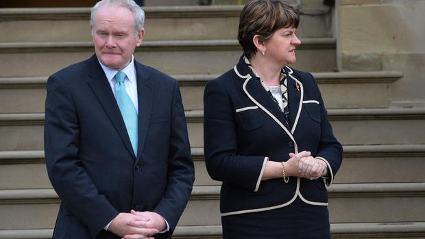 Pacemaker Press 3/11/2016 The President of the Republic of Colombia,  Juan Manuel Santos Caldern,  is greeted by  First Minister Arlene Foster and Deputy First minister Martin McGuinness  at Stormont Castle on Thursday during a visit to Northern Ireland as part of his State visit to the UK. Pic Colm Lenaghan/Pacemaker