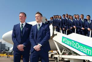 Members of the Northern Ireland football squad join Manager Michael OÕNeill and Captain Steve Davis as they leave Northern Ireland from George Best Belfast City Airport to take part in a training camp in Austria in advance of the 2016 Euros. Picture by Kelvin Boyes / Press Eye.